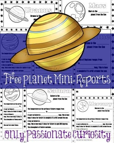 mini reports for planets free printable. Black Bedroom Furniture Sets. Home Design Ideas