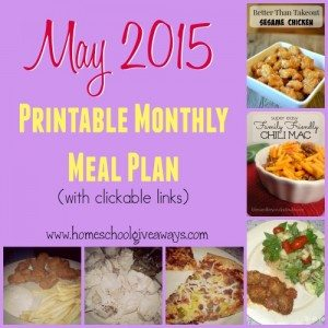 May is just around the corner. Make your nightly meal times easier and more pleasant with this Printable Meal Plan!! Includes clickable links to the recipes too! :: www.homeschoolgiveaways.com