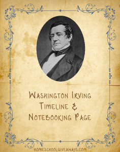 Washington Irving Timeline and Notebooking Page