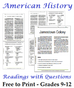 FREE High School History Readings & Questions www.homeschoolgiveaways. com Download free readings and worksheets for your history studies!