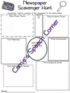 FREE Newspaper Scavenger Hunt Printable www.homeschoolgiveawya.com Go on a grammar scavenger hunt with this FREE printable!