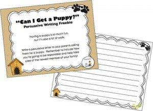 FREE Persuasive Writing Printable www.homeschoolgiveaways.com Encourage your students to use their imaginatons as they try to persuade you to get a puppy!