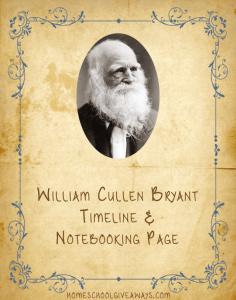 American Authors William Cullen Bryant Notebooking Timeline