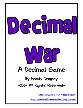 FREE Decimals Card Game www.homeschoolgiveaways.com Teach math through this fun card game!