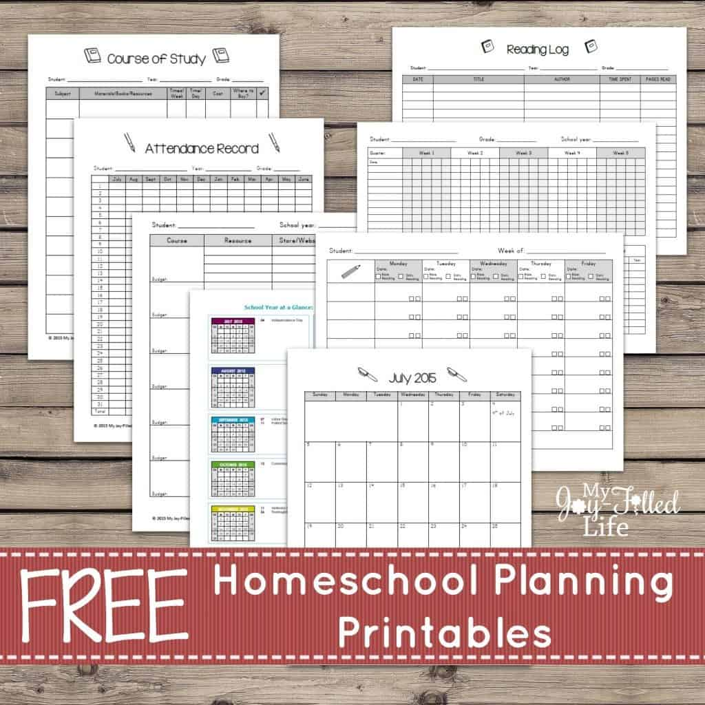 Homeschool Planning Printables wood