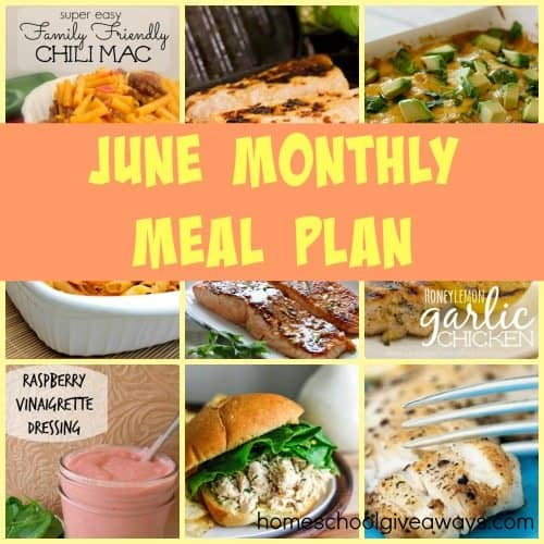 Want simple and easy meals? Check out the downloadable June Meal Plan with clickable links!! :: www.homeschoolgiveaways.com