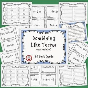 FREE Middle School Task Cards ~ Combining Like Terms www.homeschoolgiveaways.com Help your children learn how to combine like terms with these free task cards!