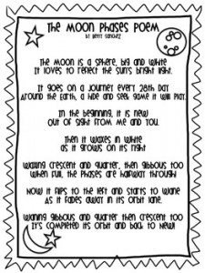 FREE Moon Phases Poem www.homeschoolgiveaways.com Learn the phases of the moon with this fun poem!
