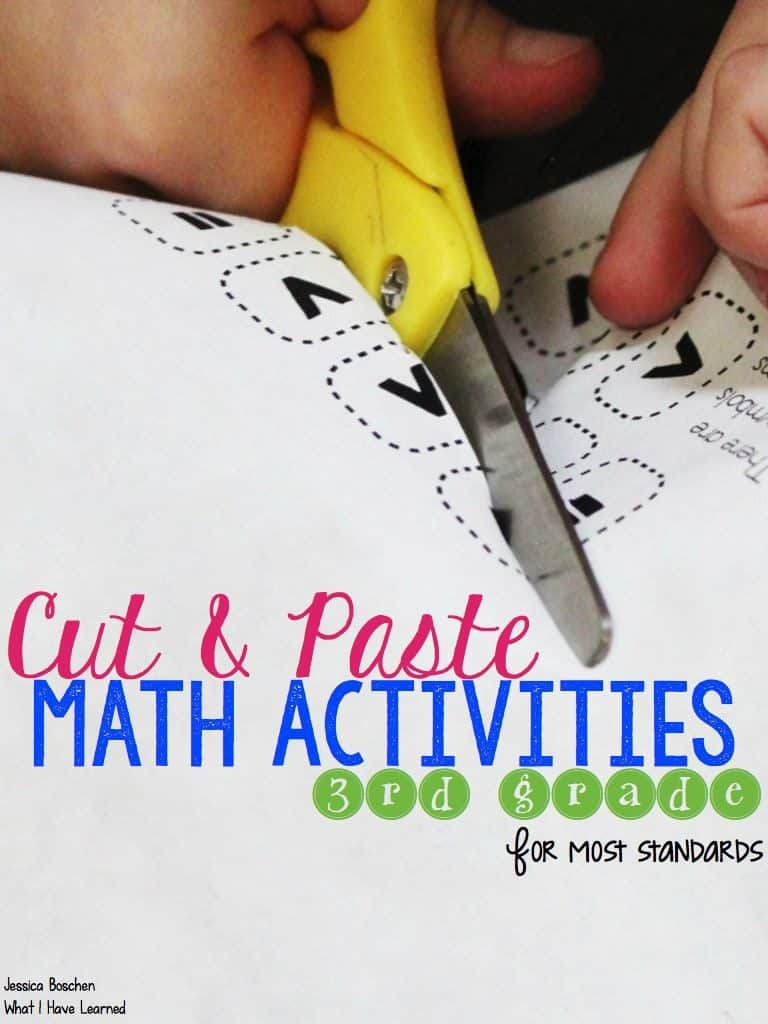 FREE Cut and Paste Math Activity Sample for 3rd Graders
