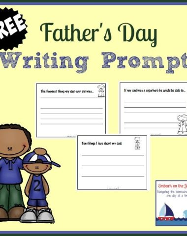 Show Dad some appreciation this Father's Day with these free writing prompt printables. | homeschoolgiveaways.com