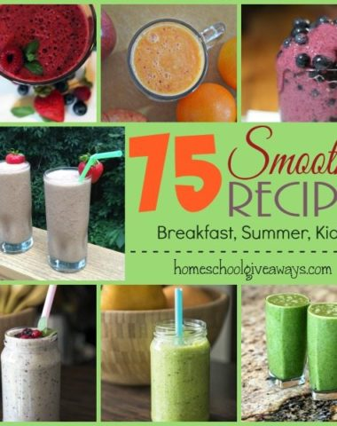 Something about Summer says SMOOTHIES!! Check out these 75 recipes perfect for Kids, Breakfast and Summer Time!! :: homeschoolgiveaways.com