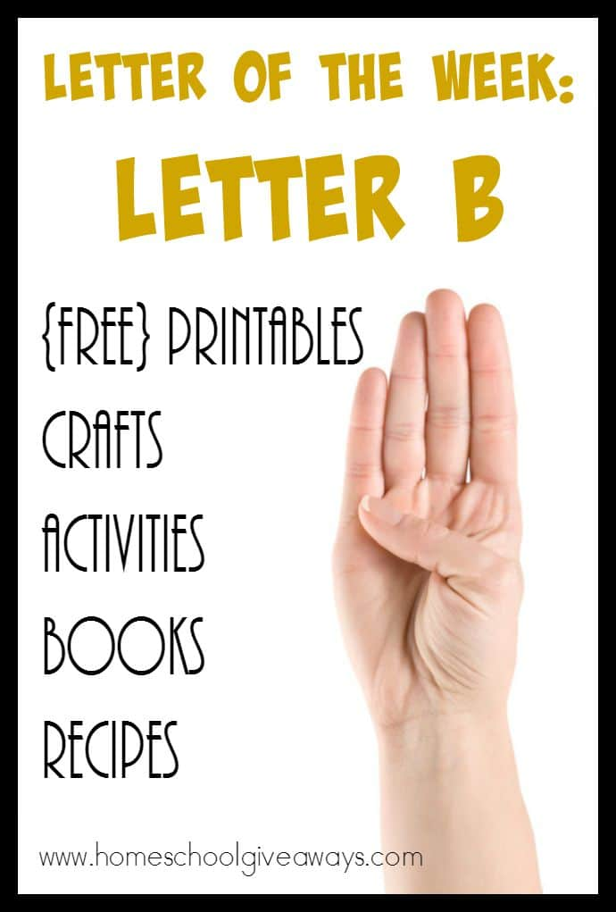 Find a HUGE list of resources for teaching the Letter B to your little ones! From [free} printables, crafts, activities and even recipes!! :: www.homeschoolgiveaways.com