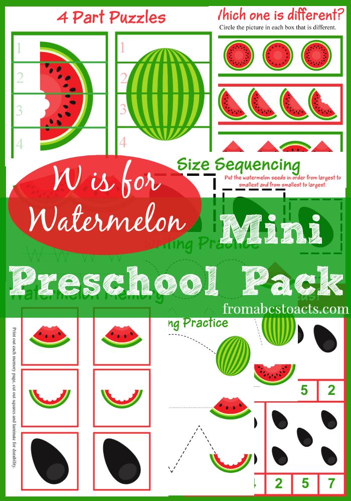 FREE Watermelon Preschool Learning Pack