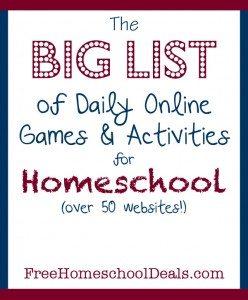 FREE List of Homeschool Games and Activities www.homeschoolgiveaways.com Use this BIG list of games and activities to bring fund AND learning to your homeschool!