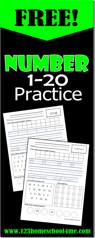 FREE Printable Numbers 1-20 Practice Worksheets