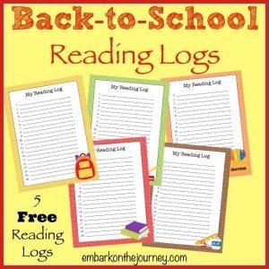 FREE Printable Back-to-School Reading Logs | homeschoolgiveaways.com