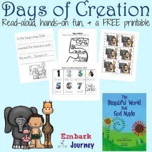FREE PreK-K Days of Creation Printable   embarkonthejourney.com