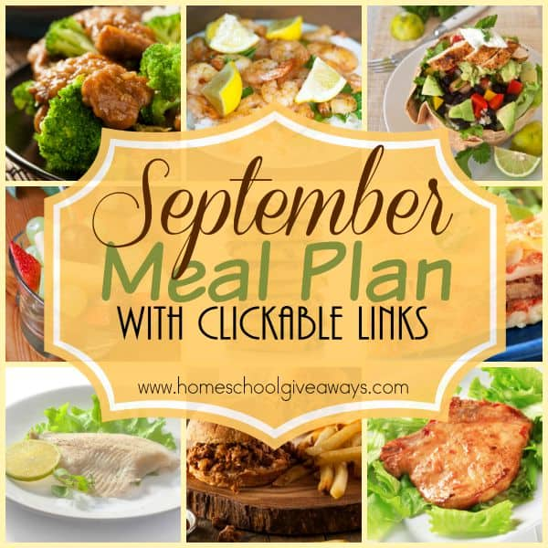 Make dinners easy with this downloadable September Menu Plan with clickable links! Easy PDF form can be printed too! :: www.homeschoolgiveaways.com