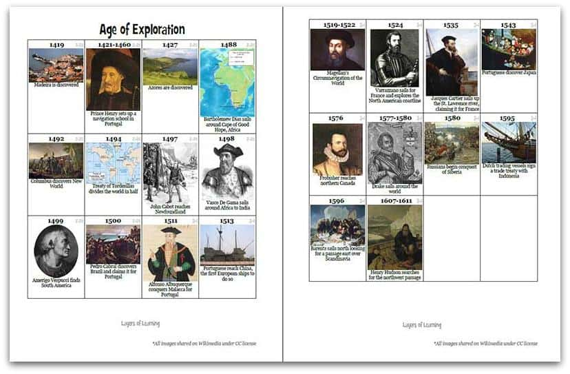 FREE Age of Exploration Printable Timeline Squares - Homeschool Giveaways