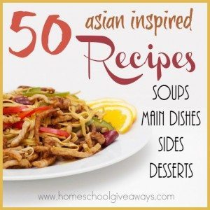Do you like Chinese, Japanese, Thai and any other Asian-inspired food, but can't afford to eat out all the time? Try these 50 DELICIOUS recipes! :: www.homeschoolgiveaways.com