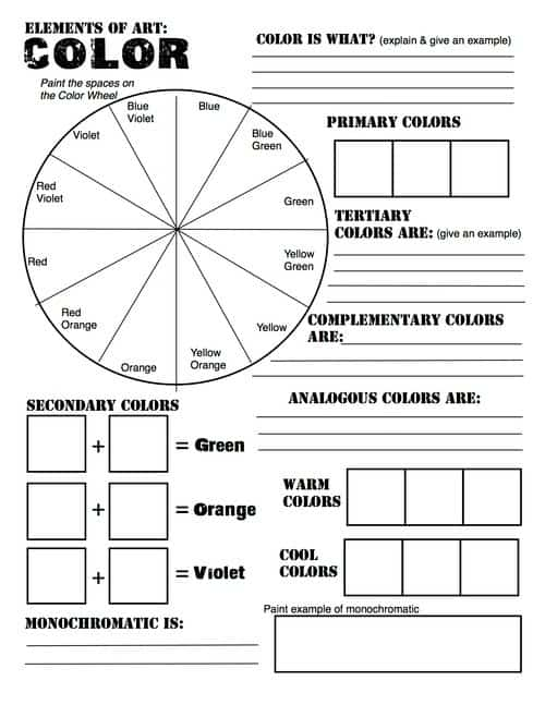 free elements of art color wheel worksheet and lesson. Black Bedroom Furniture Sets. Home Design Ideas