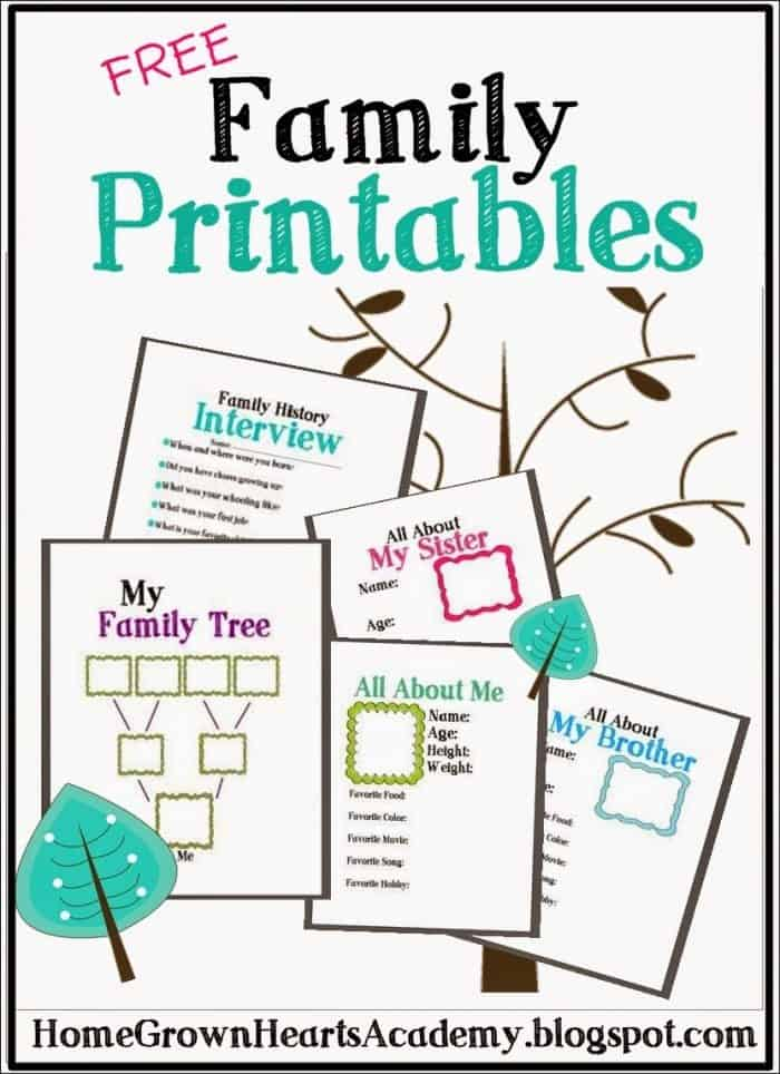 Free family printables for Preschool family tree template