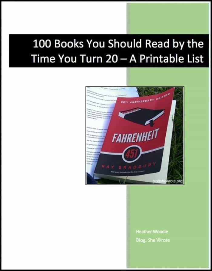 100 books you should read by the time you turn 20 printable list. Black Bedroom Furniture Sets. Home Design Ideas