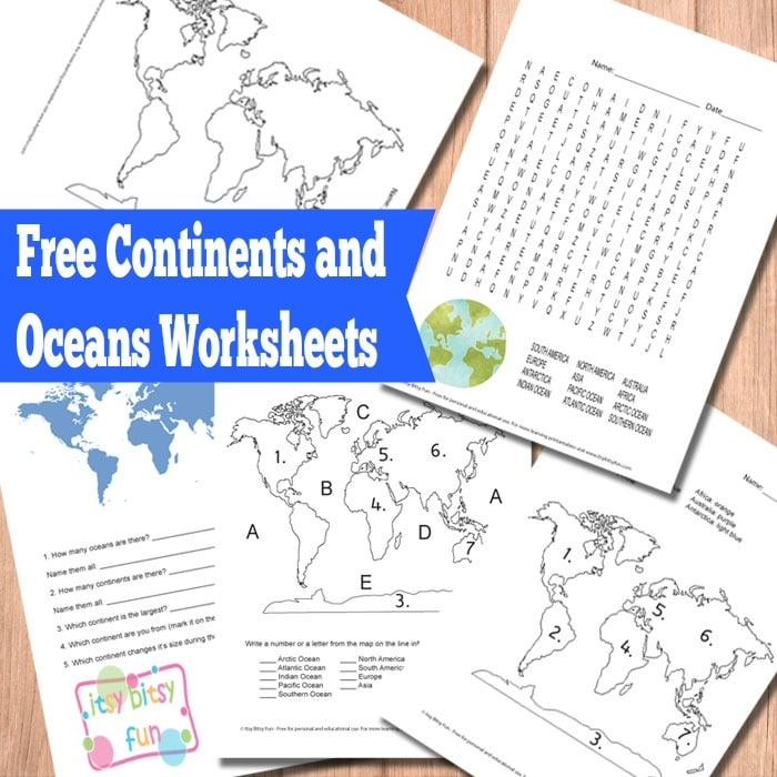 Free 7 Continents And 5 Oceans Worksheets on Name All States Worksheets And The First Grade Geography