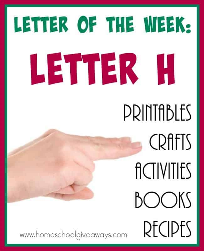 "Learning letters can be fun. Check out this HUGE List of Resources for teaching the Letter ""H"". Includes {free} printables, crafts, activities, recipes and books! :: www.homeschoolgiveaways.com"
