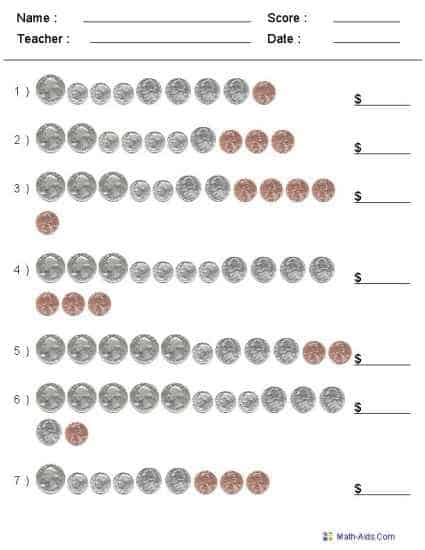 free printable  customizable counting coins worksheet