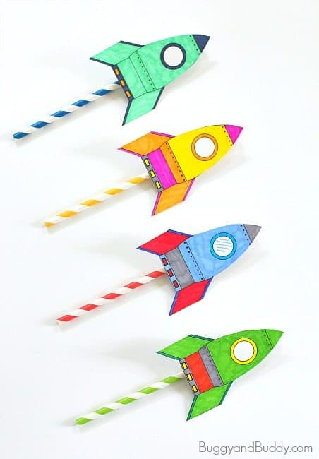 Stem for kids: straw rockets (with free rocket template) buggy.