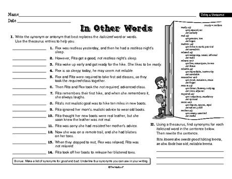 Free Printable Using A Thesaurus Worksheet