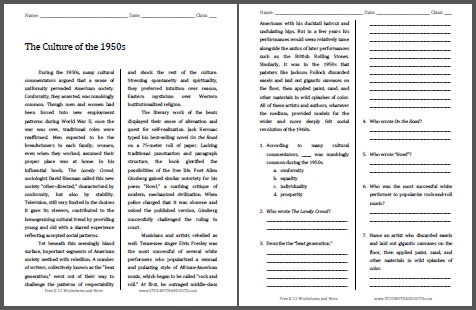 Worksheets High School History Worksheets the culture of 1950s free history reading with questions for 12 worksheet