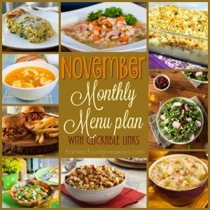 Gear up for November with these DELICIOUS Fall-inspired dishes. From slow cooker meals to soups to salads and MORE! Even a special Thanksgiving recipe!! :: www.homeschoolgiveaways.com