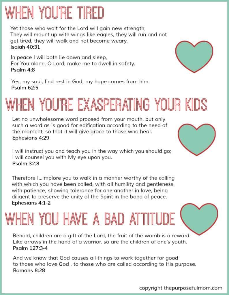 Free Printable 8 Scripture Verses For Struggling Moms Homeschool