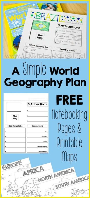 A Simple World Geography Plan with Notebooking and FREE ...