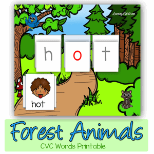 Forest-animals-cvc-words-printable-square