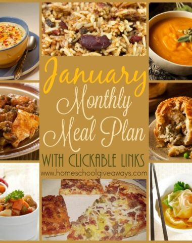 Are your meals stuck in a rut? Check out this month's menu plan forwhich includes warm soups, comfort foods perfect for the cold winter days of January! {with clickable links} :: www.homeschoolgiveaways.com
