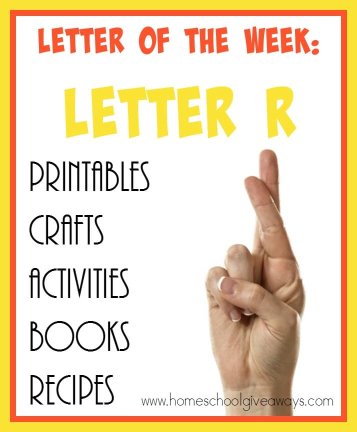 "Kids will enjoy learning all about the Letter ""R"" with these fun resources! Over 90 printables, crafts, activities, books & recipes to choose from! :: www.homeschoolgiveaways.com"