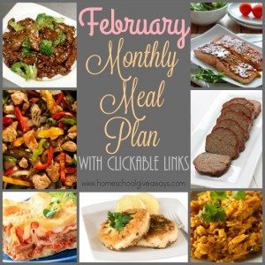 Don't get stuck in a rut with your meals, check out February's Meal Plan! Downloadable with clickable links! :: www.homescholgiveaways.com