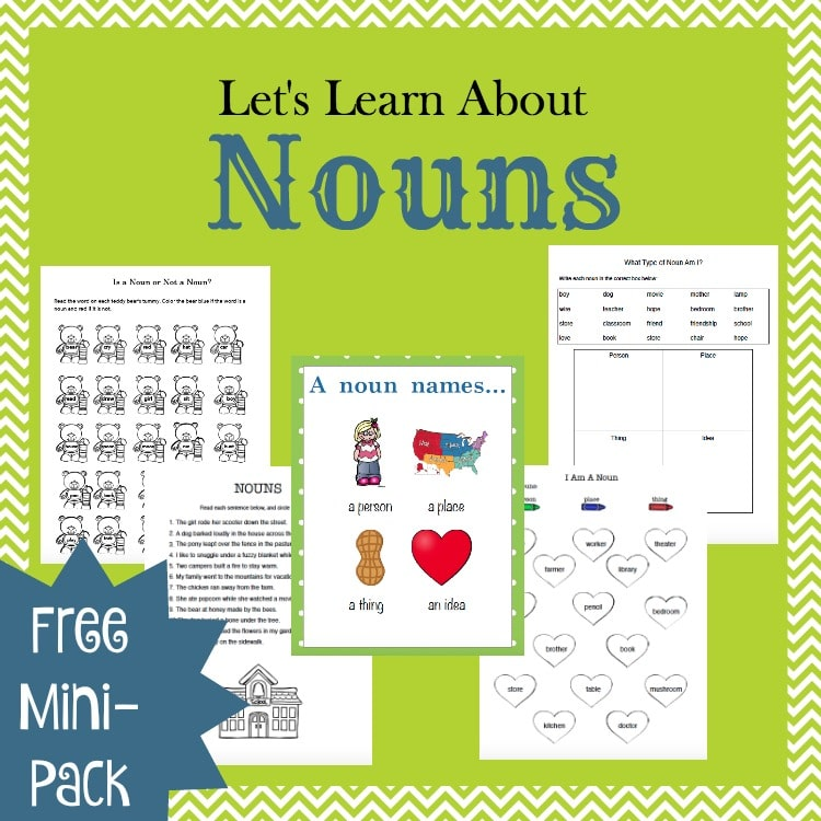 free learn about nouns mini pack