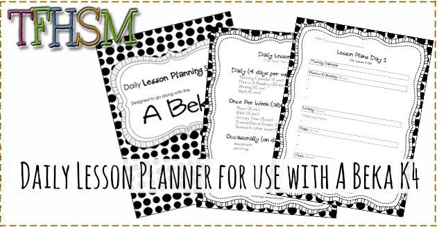 free daily lesson planner for use with abeka k 4