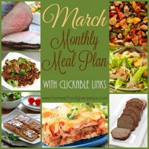 March is almost here and it's going to be a busy month. Make dinners easier with this Monthly Meal Plan! Downloadable with clickable links! :: www.homeschoolgiveaways.com