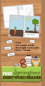 Spring Sight Word Reader for Preschool, Kindergarten, 1st grade, 2nd grde, 3rd grade