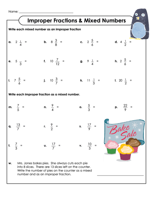 Free Printable Improper Fractions Mixed Numbers Worksheet