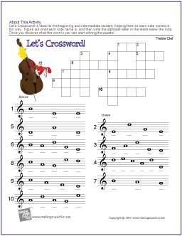 graphic regarding Music Puzzles Printable named Totally free Printable Treble Clef Take note Crossword Puzzle