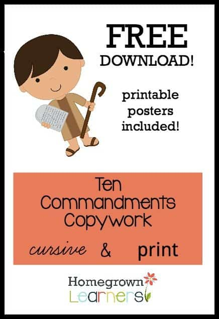 photo regarding Ten Commandments Printable named No cost Printable 10 Commandments Copywork - Homeschool Giveaways
