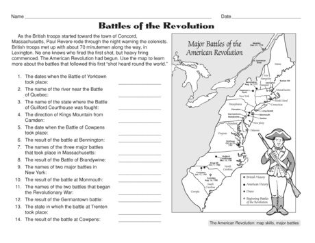 Worksheets Revolutionary War Worksheets free battles of the american revolution worksheet revolution