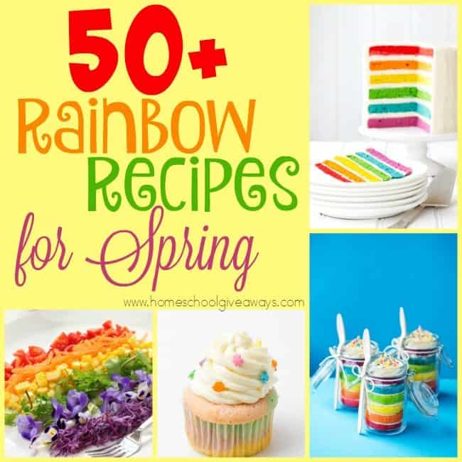 Spring is quickly approaching and that means rain showers and rainbows. Why not celebrate with some delicious rainbow treats!! Check out these recipes. :: www.homeschoolgiveaways.com