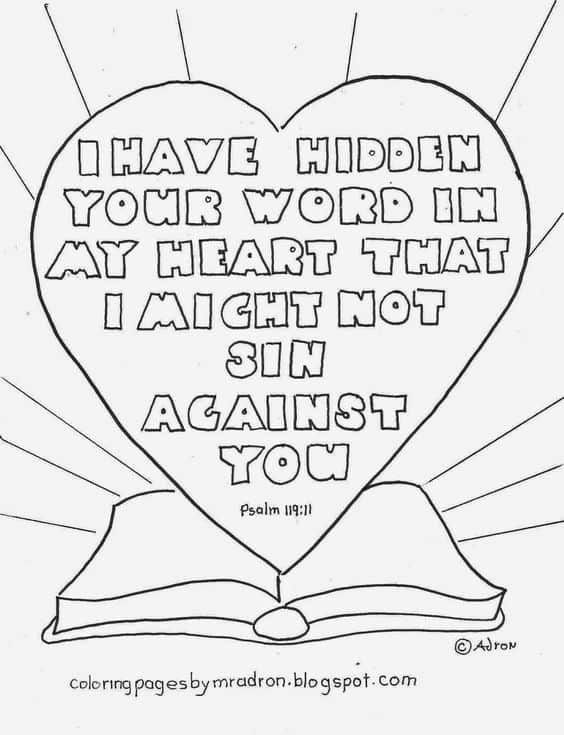 FREE Printable Psalm 119:11 Coloring Page - Homeschool ...